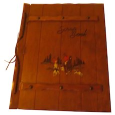 Tally Ho Fox Hunt Wood Carved Scrapbook - b288