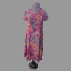 Colorful Batik Print Side Button Dress