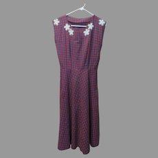 Plaid with Lace Appliques Dress
