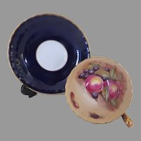 Aynsley Cobalt D. Jones Fruit Cup and Saucer - b290