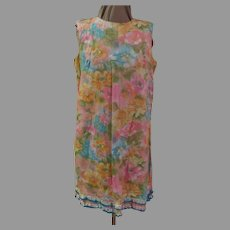 Pastel Flowers Abloom Dress with Ruffles Hem