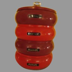Mid-Century Spicy Paprika Space Saver Stacking Canister - g