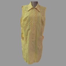 Zip Front Yellow Check Dress