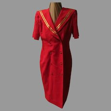 Leslie Fay Red with Gold Braid Coat dress