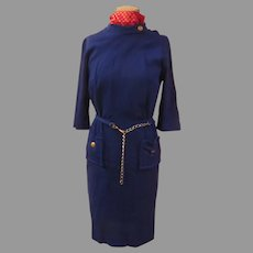 Navy Brass Dress with Chain Belt