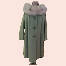 Big Button Fur Collar Coat