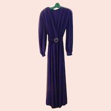 Purple Shirred Shoulder Dress