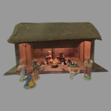 Rustic Stable with Italian Nativity Set - b