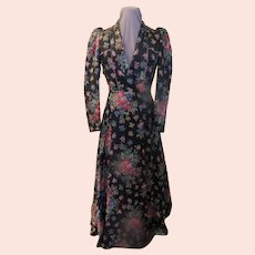 Quilted Floral Print Dressing Gown/robe