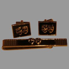 Comedy/Tragedy Cuff Links and Tie Bar - 02 - Free shipping