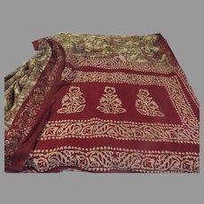 Burgundy Print Border Sari/fabric - l4