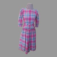 Lanz Originals Perky Plaid Pink/Turquoise Peplum Dress