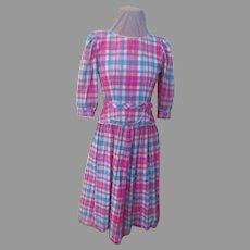 Lanz Originals Perky Plaid Pink/Turquoise Peplum Dress