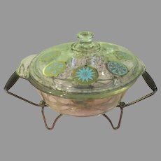 Mid-Century Glama Glass Fire King Covered Casserole on Warming Stand - g