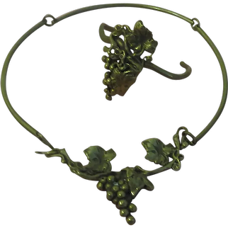 Grapes on the Vine Brass Necklace and Bracelet - Free shipping