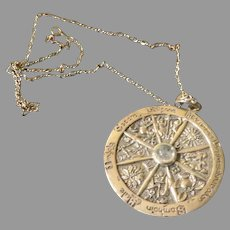 Midsummer/Yule Gaelic Calendar Silver Pendant on Chain - Free shipping - br