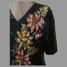 Golden Flower Sequin Silk Top/blouse