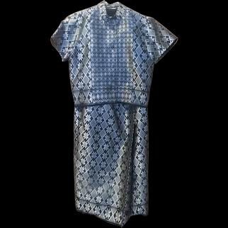 Woven Diamond and Star Silver Metallic Skirt Set with Scarf - b