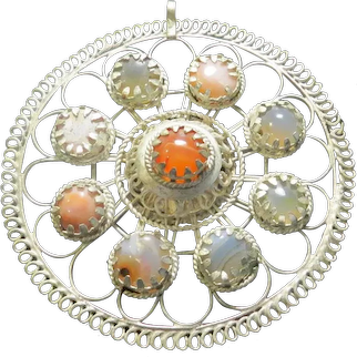 Open Work Cabochon Pendant - Free shipping - b/r