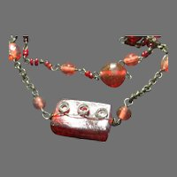 Red Glass Bead double Strand necklace - Free shipping -br