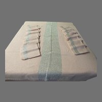 Pastel Pink with silver Thread Chicago Weaving Tablecloth and Napkins. - g