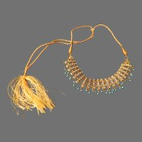 Rhinestone and Bead necklace on Gold Cord - Free shipping - br