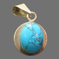 Turquoise on Silver Pendant - Free shipping - br