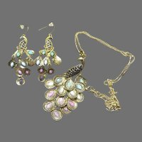 Peacock on Chain and J-hook Earrings - Free shipping - br