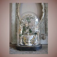 """Beautiful  Ornate Glass Dome with Vase """"Porcelain de Bruxelles"""" and Gorgeous Wax and other flowers.."""