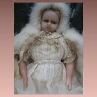 Gorgeous early English poured wax doll Victorian era.