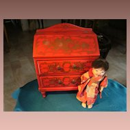 Beautiful Japanese lacquer Dolls writing desk, for your French Fashion doll, Red with Golden flowers.