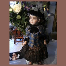 Rare beautiful French antique doll dress and hat.