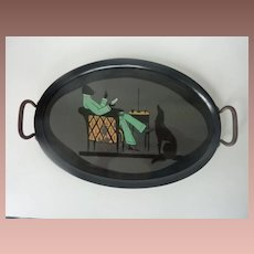 Beautiful rare dinner-tray in lovely design and colors.