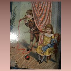 Beautiful Victorian lithographed block puzzle, children.