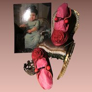 Beautiful leather shoes Victorian style for your Bru, Jumeau....