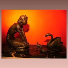 Beautiful Art ,  original Art Deco statue, woman with Mother Swan and 2 baby swans. 1910-1920