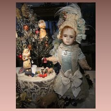 Lovely antique made French BeBe doll dress and beautiful hat for
