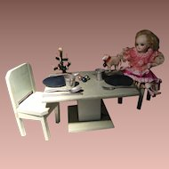 Darling  romantic  Dinner set in Art Deco included tiny cute Christmas tree on table,  cute tiny lamb  and others