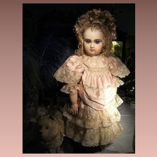 Gorgeous French BeBe dress and French BeBE  hat for a antique doll, Jumeau, Bru,Steiner from 64cm or 25 inch.