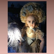 Gorgeous French haute couture antique dress and French hat  for a doll from 55cm or 20 inches.