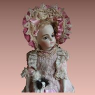 Beautiful  pink French BeBe dress and Hat, for antique doll 52cm or 20,5 ""