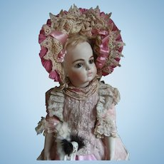 """Beautiful  pink French BeBe dress and Hat, for antique doll 52cm or 20,5 """""""