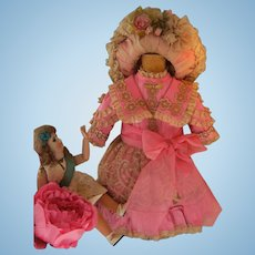 Beautiful  French BéBé dress and a French hat, for a 52cm or 20,5 inch doll.