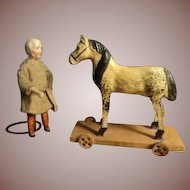 Beautiful antique horse on plank with wheels !~~