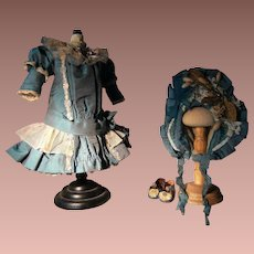 Beautiful  French BéBé dress and a French hat, for a 34cm or 13,4 inch antique doll, Jumeau, Bru or Steiner.