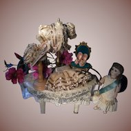 """Rare beautiful French antique doll dress and hat. For a doll from 11"""" doll"""