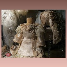 Beautiful old antique doll dress Satin Ivory with Gorgeous French hat