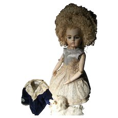 Beautiful Doll dress and fabulous French hat for your antique doll from 48cm or 18,9 inches