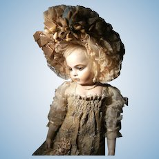 """Woow...what a beautiful amazing French dress and hat for your antique doll, from 50cm or 19.7"""" ."""