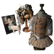 """So beautiful, this Haute Couture French  BéBé dress and hat for a doll from 40cm or 15,8"""""""